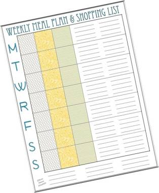 Weekly Meal Planner Shopping List Free Download