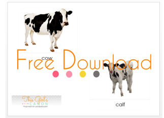 nomenclature cards montessori farm animal cards free printable download